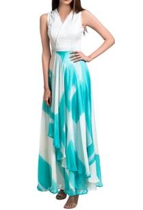 teal-white-brush-painted-overlap-maxi-dress
