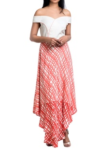 white-peach-georgette-block-printed-off-shoulder-dress