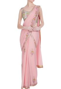 pink-rose-pre-draped-saree-with-floral-sequin-blouse