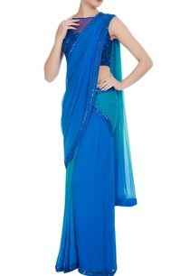 cobalt-blue-chiffon-sequin-embroidered-pre-draped-saree-with-blouse