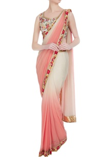 ivory-peach-sequin-resham-thread-embroidered-pre-draped-saree-with-blouse