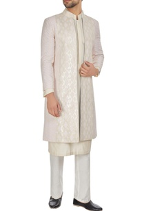 ivory-pink-chanderi-front-open-textured-achkan-jacket-with-kurta-churidar
