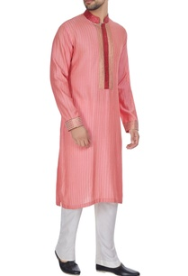 coral-spun-silk-pink-tucked-kurta-set