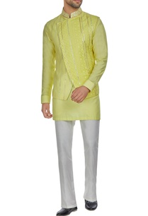 yellow-spun-silk-overlap-lucknowi-bandi-jacket