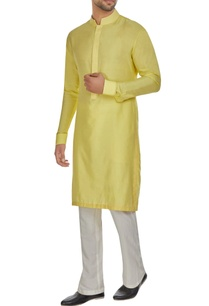 sunny-yellow-threadwork-placket-kurta-set