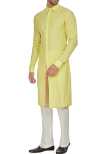 yellow-spun-silk-checks-textured-long-kurta-set