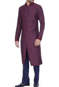 wine-spun-silk-textured-overlap-kurta-with-blue-pants