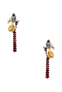 bird-motif-long-dangling-earrings