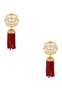 circular-floral-earrings-with-dangling-bead-tassels