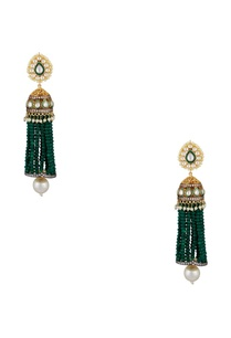 jhumka-earrings-with-green-beaded-tassels