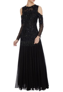 sequin-cutdana-bead-embroidered-cold-shoulder-gown