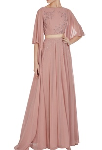 draped-sleeves-crop-top-with-high-waist-pleated-skirt