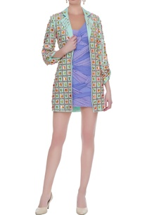 mint-green-lilac-crepe-bandhani-embroidered-short-dress-blazer