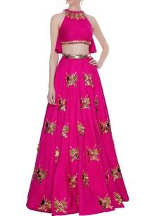 hot-pink-matka-silk-embellished-sequin-work-blouse-with-lehenga-belt