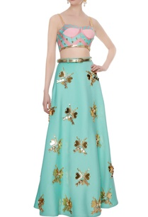 mint-green-pink-neoprene-embellished-embroidered-blouse-with-lehenga-belt