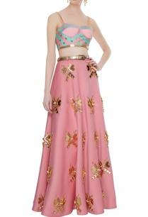 pink-neoprene-butterfly-embellished-blouse-with-lehenga-belt