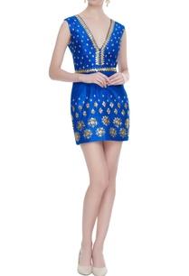 electric-blue-raw-silk-sequin-embellished-short-dress