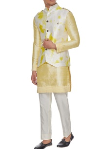white-yellow-tie-dye-bundi-with-kurta