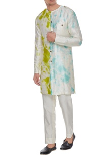 off-white-front-open-tie-dye-kurta-with-trousers
