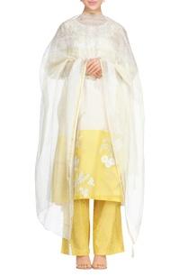 yellow-off-white-chanderi-block-printed-kurta-set