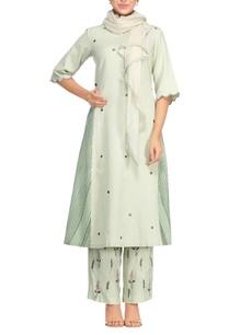 light-green-khadi-block-printed-oversized-kurta-set