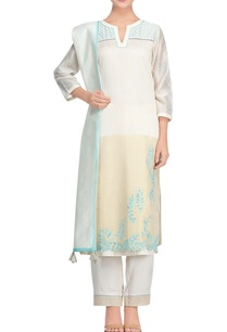 white-aqua-blue-chanderi-cutwork-kurta-set