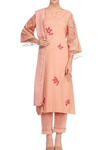 rusty-orange-khadi-lace-kurta-set