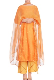 sunrise-orange-handblock-printed-kurta-set