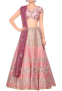 pink-raw-silk-lehenga-with-light-rose-raw-silk-blouse-burgandy-organza-net-dupatta