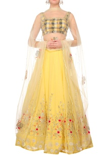 yellow-georgette-lehenga-with-chequered-blouse-yellow-net-dupatta
