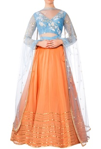 orange-georgette-lehenga-with-blue-raw-silk-blouse-blue-net-dupatta