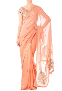 peach-georgette-embroidered-saree-with-raw-silk-blouse