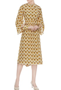 mustard-yellow-printed-gathered-moroccan-crepe-dress