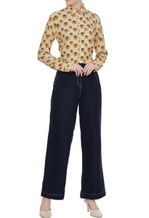yellow-floral-printed-collar-shirt