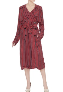 red-black-stripe-asymmetric-moroccan-crepe-trench-coat