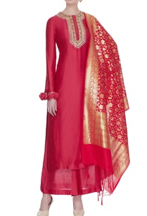 red-chanderi-silk-gota-embroidered-kurta-set