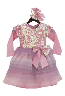 baby-pink-net-silk-sequin-yoke-frilled-frock