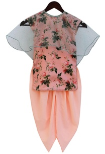 peach-printed-kurta-with-dhoti-pants-cape