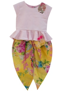 baby-pink-cotton-peplum-top-with-yellow-printed-dhoti