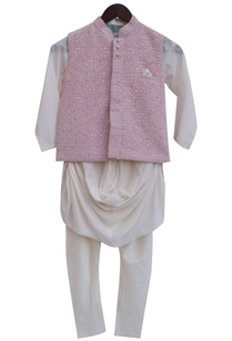 baby-pink-modal-cotton-silk-embroidered-nehru-jacket-with-off-white-kurta-churidar