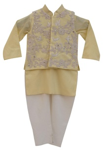 lemon-yellow-cotton-silk-embroidered-jacket-with-lemon-yellow-kurta-churidar
