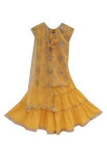 yellow-gota-embroidered-kurta-set