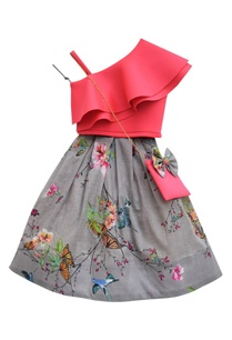 pink-one-shoulder-top-with-grey-printed-skirt