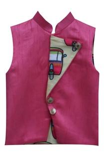 pink-linen-nehru-jacket-with-contrast-print