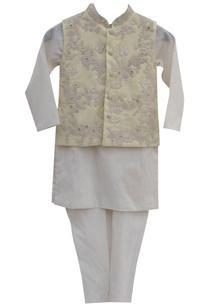 lemon-yellow-cotton-silk-embroidered-jacket-with-off-white-kurta-churidar