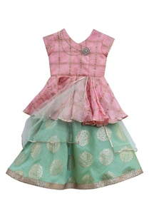 peach-peplum-blouse-with-foil-printed-lehenga-with-pre-attached-dupatta
