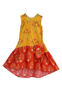 yellow-orange-cotton-printed-dress