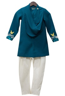 teal-blue-achkan-jacket-with-white-churidar