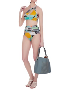 color-block-printed-one-shoulder-bikini-set
