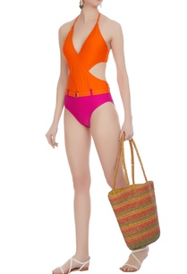color-block-cutout-halter-monokini
